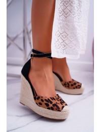 Women's Sandals On Wedge Linen Leopard Canterola - 100-932 LEO