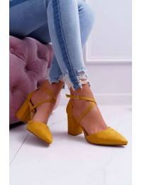 Women's Pumps On Heel Suede Yellow Cosmo - LE063 YELLOW