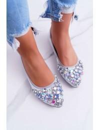 Women s Ballerinas With Decorative Stones Silver Crystal - C87 SILVER
