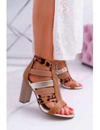 Women's Sandals On Heel Elegant Front Zipper Rahel - LA-117 CAMEL