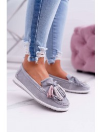 Women s Loafers Leather Suede With Fringes Grey Batist - 9PB32-1078 LT.GREY
