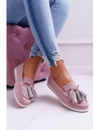 Women s Loafers Leather Suede With Fringes Pink Batist - 9PB32-1078 LT.PINK