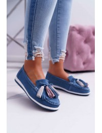Women s Loafers Leather Suede With Fringes Blue Batist - 9PB32-1078 BLUE