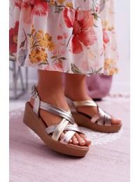 Women's Sandals On Wedge Heel Leather Maciejka ESP27-25/00-1 - ESP27-25/00-1 CAVA COMBI