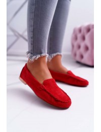Women's Moccasins Sergio Leone Loafers Red Winted - MK721 RED