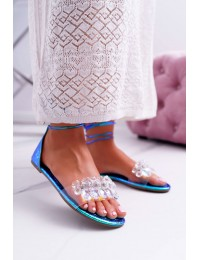 Women's Sandals Lu Boo Crystals Blue Madina  - SF22 BLUE