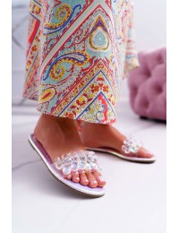 Women's Slides With Zircons Lu Boo Petrol Silver Mediana - SF23 SILVER