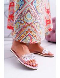 Women's Slides With Zircons Lu Boo Petrol Pink Mediana - SF23 PINK
