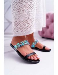 Women's Slides Lu Boo Elegant With Zircons Black Elementary - PYS-2 BLK