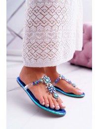 Women's Slides Lu Boo With Crystals Blue Conathe  - 9698 BLUE