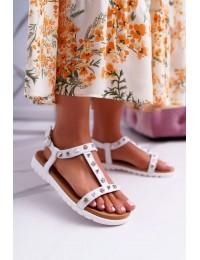 Women's Sandals Lu Boo With brads White Mariachi - 108-1 WHITE