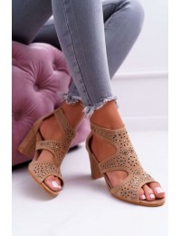 Women's Sandals On High Heel Lu Boo With Cut-outs Camel Things - 1162-973 CAMEL