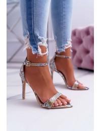 Women's Sandals On High Heel Lu Boo Snake Beige Ramann - B0982-2B BEIGE