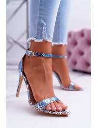 Women's Sandals On High Heel Lu Boo Snake Blue Ramann - B0982-2B L.BLUE