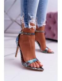 Women's Sandals On High Heel Lu Boo Snake Green Ramann - B0982-2B GREEN