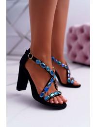 Women's Sandals On High Heel Lu Boo Suede Black 8258-1 Vernee - 8258-1 BLK SUEDE