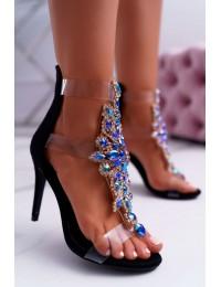 Women's Sandals On High Heel Lu Boo Suede Black 2047-89 Milleni - 2047-89 BLK SUEDE