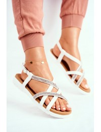 Women's Sandals Lu Boo With Zircons 406-6 White Feen - 406-6 WHITE