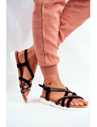 Women's Sandals Lu Boo With Zircons 406-6 Black Feen - 406-6 BLK