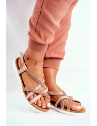 Women's Sandals Lu Boo With Zircons 406-6 Champagne Feen - 406-6 CHAMPAGNE