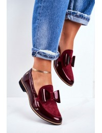 Women's Brogues Loafers Maciejka Leather Burgundy 04099-44/00-1 - 04099-44/00-1 BURGUNDY