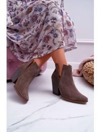 Natūralios odos stilingi zomšiniai aulinukai Nicole - 2430 CAPPUCCINO/W