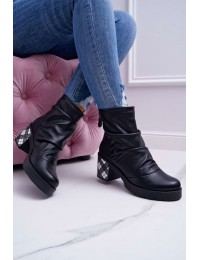 Juodi natūralios odos batai languotu kulnu - 04216-01/00-3 BLACK