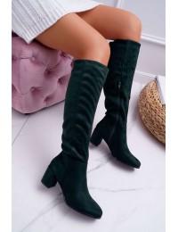 Elegantiški tamsiai žalios spalvos aukštos kokybės stilingi ilgaauliai - KZ273 GREEN MIC
