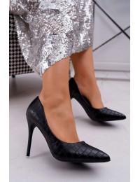 Women s Stilettos With Alligator Print Black Flop - GG-81P BLK