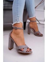 Women's Sandals On High Heel Grey Telmen - TU133 GREY