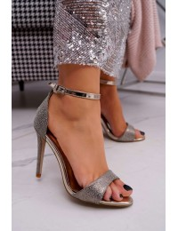 Women's Sandals On High Heel Brocade Gold Fiverer - TU130 GOLD