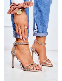 Women's Sandals On High Heel Brocade Gold Demmis - TU129 GOLD