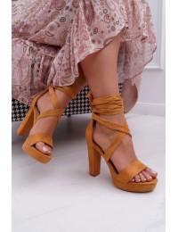 Women's Sandals On High Heel Laced Camel Milla - KK35 CAMEL