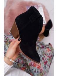 Natūralios odos stilingi juodi zomšiniai aulinukai su patogiu kulnu - 2451 CZARNY/W