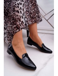 Women's Loafers Lacquered Black Sinedos - 2460 CZARNY/L