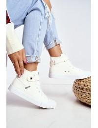 Skaisčios baltos spalvos stilingi originalūs BIG STAR bateliai - FF274579 WHITE