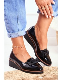 Women's Brogues on Wedge Lacquered Black Milona - XY20-10446 BLK