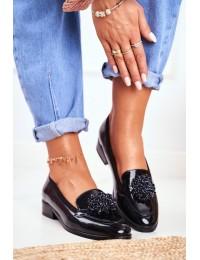 Women's Brogues Flat Heels Lacquered Black Fedder - 20-10527 BLK