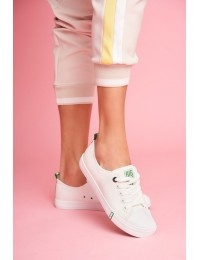 Women's Sneakers Big Star Green White FF274088 - FF274088 WHITE/GREEN