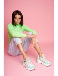 Natūralios odos mėtinės spalvos aukštos kokybės batai - FF2N3011 MINT MULTI