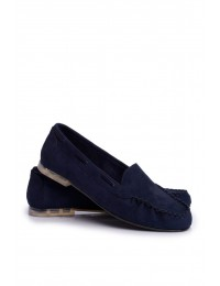 Women s Loafers Sergio Leone Suede Navy Blue MK722 - MK722 NAVY MIC