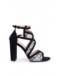 Women's Sandals On Heel Suede Black Snake Emolly - LE071P SNAKE