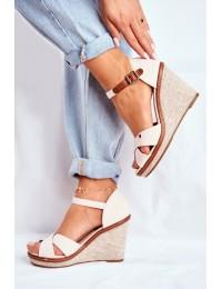 Women's Sandals On Wedge Beige LaMane - R133P BEIGE