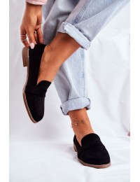 Women's Brogues Loafers Suede Black Cintra - T366 BLK