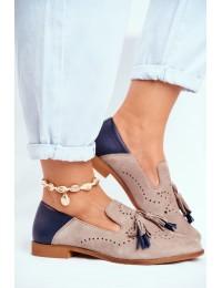Women's Brogues Loafers Maciejka Leather Beige 04484-04/00-5 - 04484-04/00-5 BEIGE NAVY