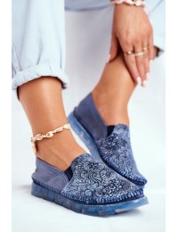 Women's Brogues Shoes Maciejka Leather Slip-on Navy Blue 03512-45 - 03512-45/00-0 NAVY