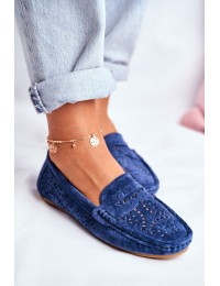 Women's Loafers With Perforated Leather Navy Blue Salem - LR92309 NAVY