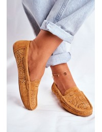 Women's Loafers With Perforated Leather Camel Salem - LR92309 CAMEL