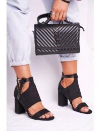 Women s Sandals On High Heel Black Palms - YQE20-17054 BLK