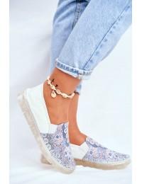 Women's Brogues Shoes Maciejka Leather Slip-on White 03512-46 - 03512-46/00-0 WHITE NAVY